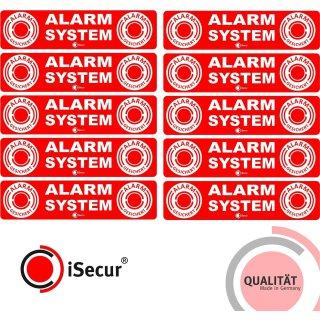 10er Set Alarm-Aufkleber innenklebend I 12 x 3 cm