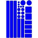 Aufkleber-Set Kreise Quadrate Streifen Rechtecke I blau, selbstklebend