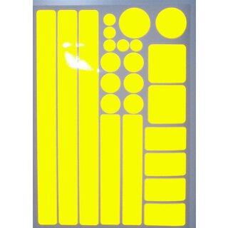 Aufkleber-Set Kreise Quadrate Streifen Rechtecke I gelb, selbstklebend