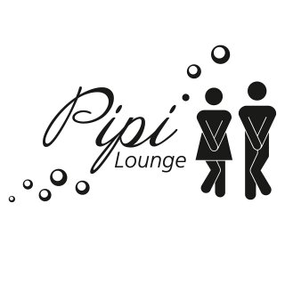 WC Tür-Aufkleber Pipi Lounge I schwarz
