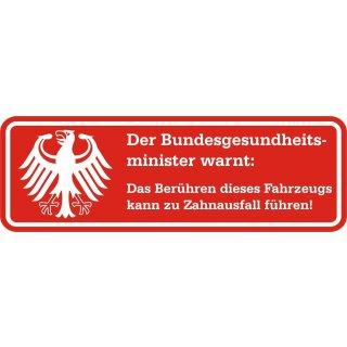 Fun-Aufkleber Warnung Zahnausfall rot I kfz_362 I 10 x 3,5 cm
