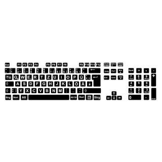 Tastaturaufkleber Deutsch I schwarze Tastaturaufkleber mit weißen Buchstaben I 8 x 8 mm