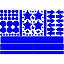 Aufkleber-Set Sterne Kreise Pfeile Streifen I blau, selbstklebend