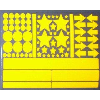 Aufkleber-Set Sterne Kreise Pfeile Streifen I gelb, selbstklebend