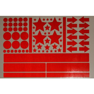 Aufkleber-Set Sterne Kreise Pfeile Streifen I rot, selbstklebend