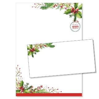 25er Set Briefpapier Merry Christmas I DIN A4